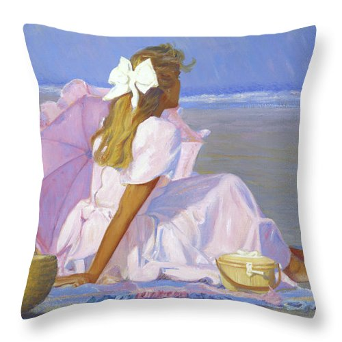 Impressionist Throw Pillow featuring the painting Low Tide Lady by Candace Lovely