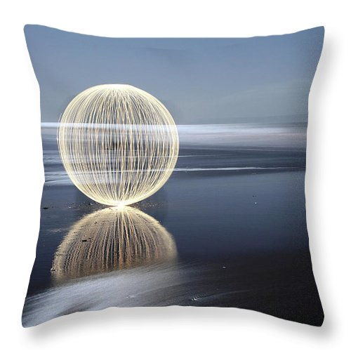 Light Painting Throw Pillow featuring the photograph Low Tide Reflection by Andrew John Wells