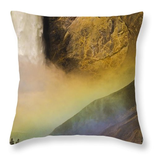 Yellowstone National Park Throw Pillow featuring the photograph Lower Falls Rainbow - Yellowstone by Sandra Bronstein