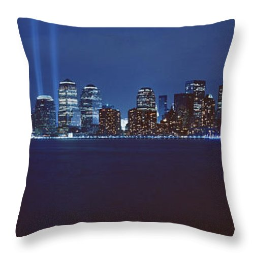 Photography Throw Pillow featuring the photograph Lower Manhattan, Beams Of Light, Nyc by Panoramic Images