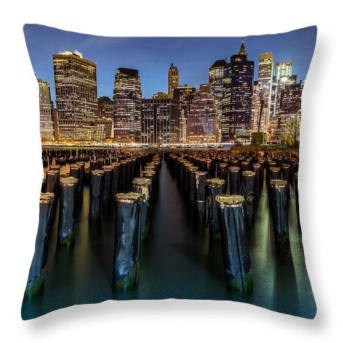 America Throw Pillow featuring the photograph Lower Manhattan by Mihai Andritoiu