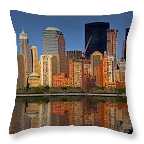 America Throw Pillow featuring the photograph Lower Manhattan Skyline by Susan Candelario