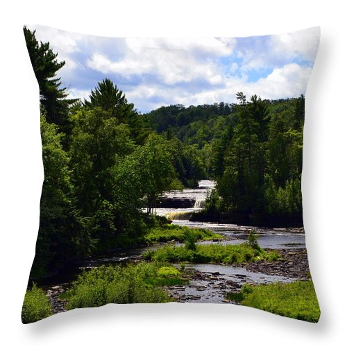 Rivers Throw Pillow featuring the photograph Lower Tahquamenon Falls Ll by Michelle Calkins