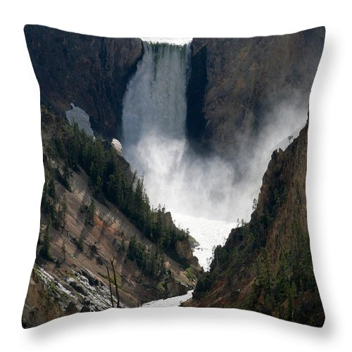 Lower Yellowstone Falls Throw Pillow featuring the photograph Lower Yellowstone Falls 02 by E B Schmidt