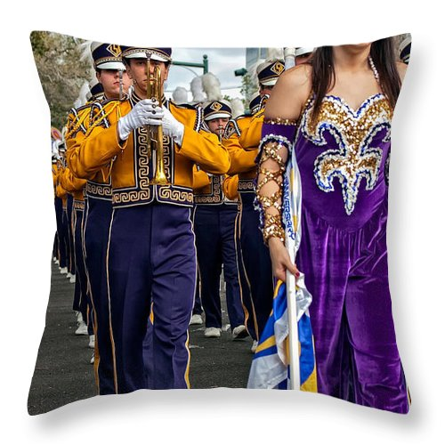 Lsu Throw Pillow featuring the photograph Lsu Marching Band 5 by Steve Harrington