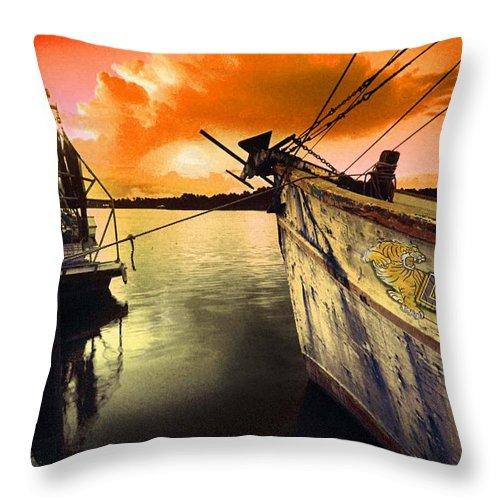 Alabama Throw Pillow featuring the digital art Lsu Shrimp Boat by Michael Thomas