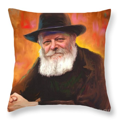 Lubavitcher Rebbe Throw Pillow featuring the painting Lubavitcher Rebbe by Sam Shacked