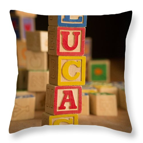 Alphabet Throw Pillow featuring the photograph Lucas - Alphabet Blocks by Edward Fielding