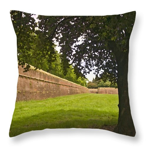 Lucca Throw Pillow featuring the photograph Lucca Walls by Mick Burkey