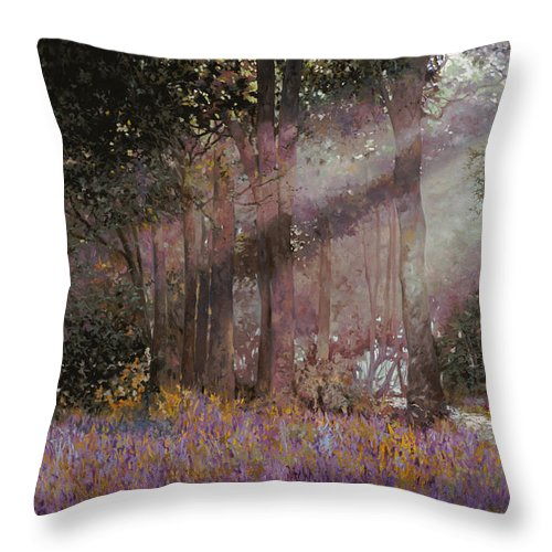 Wood Throw Pillow featuring the painting Luci by Guido Borelli