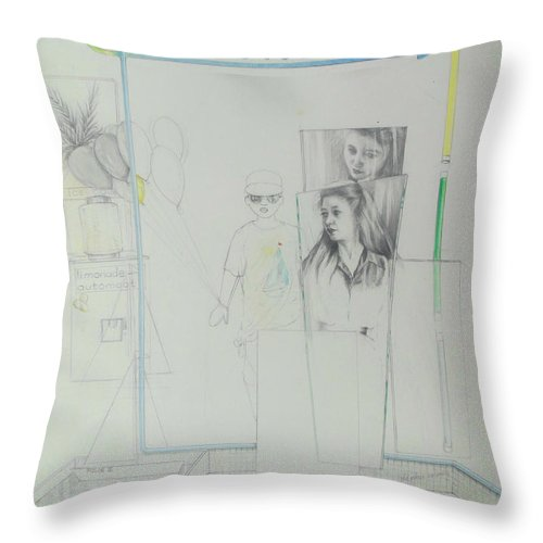 Lucia Hoogervorst Throw Pillow featuring the drawing Lucia by Lucia Hoogervorst