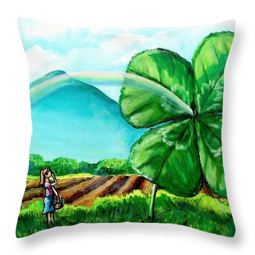 Shamrock Throw Pillow featuring the painting Luck Of The Dale by Shana Rowe Jackson