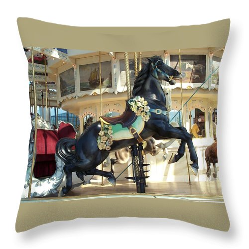 Carousel Throw Pillow featuring the photograph Lucky Black Pony - Syracuse Ptc No 18 by Barbara McDevitt