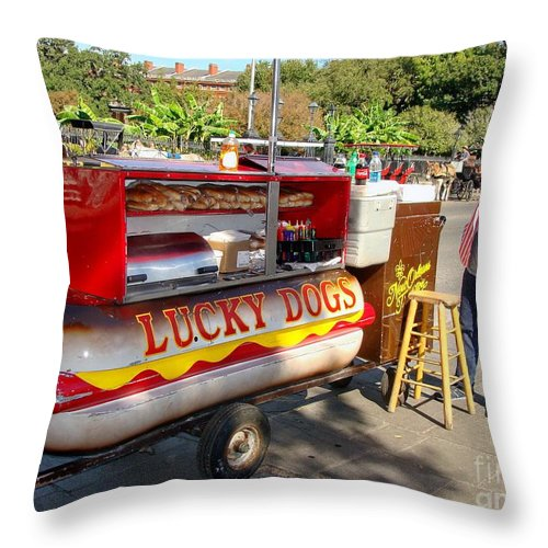 New Orleans Throw Pillow featuring the photograph Lucky Dogs by Ed Weidman