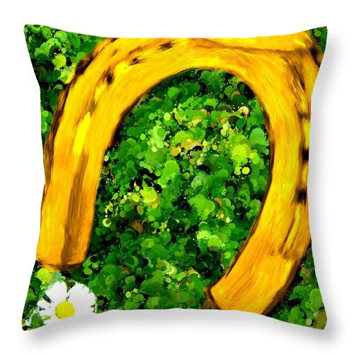 Horse Throw Pillow featuring the painting Lucky Wedding Horse Shoe by Bruce Nutting