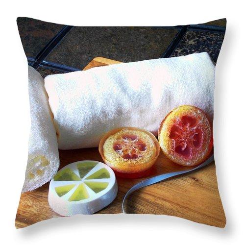 Orange Throw Pillow featuring the photograph Luffa Soap by Anastasiya Malakhova