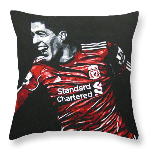 Luis Suarez Throw Pillow featuring the painting Luis Suarez - Liverpool Fc 2 by Geo Thomson