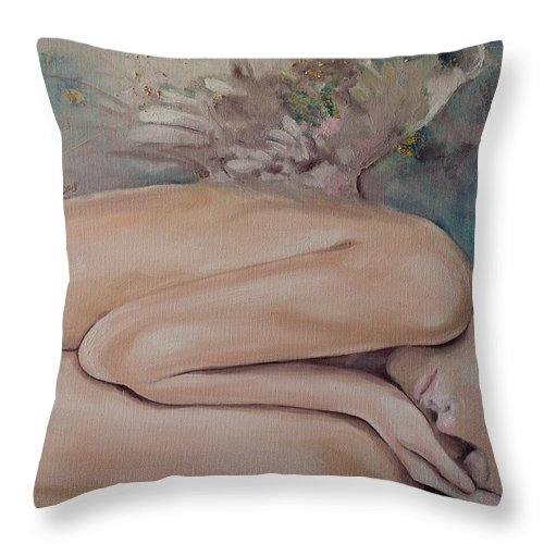 Angels Throw Pillow featuring the painting Lullaby by Dorina Costras