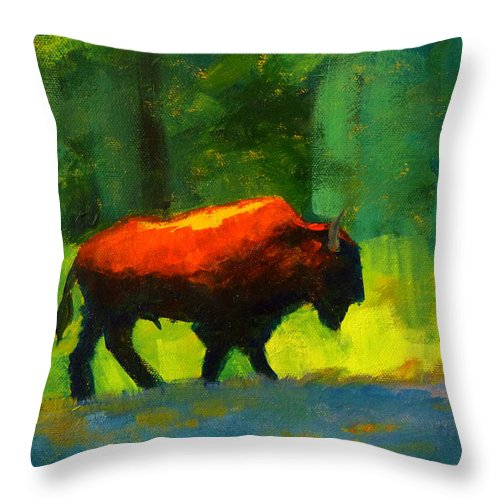 Abstract Throw Pillow featuring the painting Lumbering by Nancy Merkle