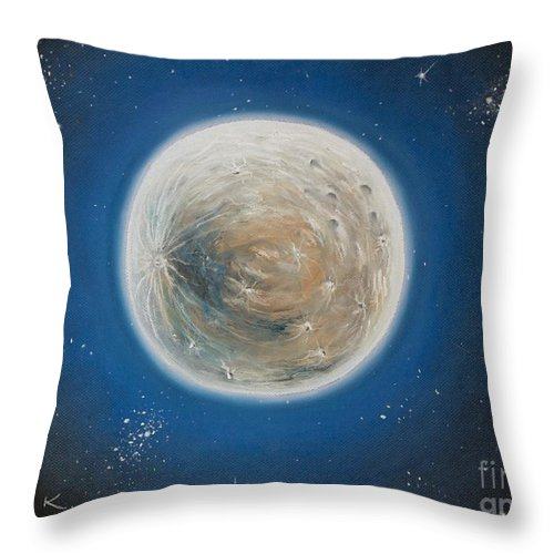 La Luna Throw Pillow featuring the pastel Luna by Katharina Filus