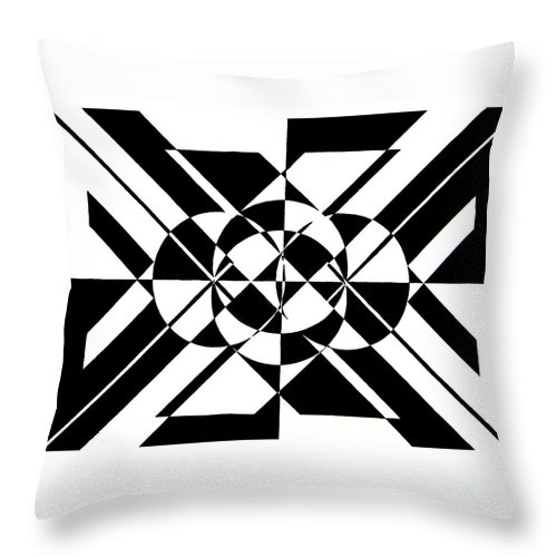 Abstract Throw Pillow featuring the painting Lunar City by Crystal Hubbard