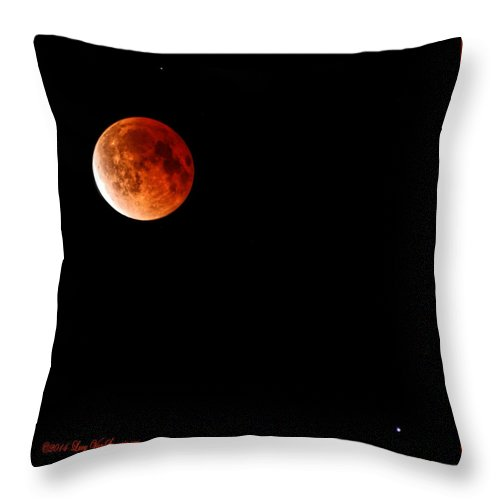 Moon Throw Pillow featuring the photograph Lunar Eclipse April 15 2014 by Lucy VanSwearingen
