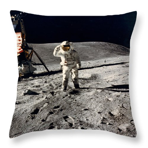 1 Person Throw Pillow featuring the photograph Lunar Flag Salute by Underwood Archives