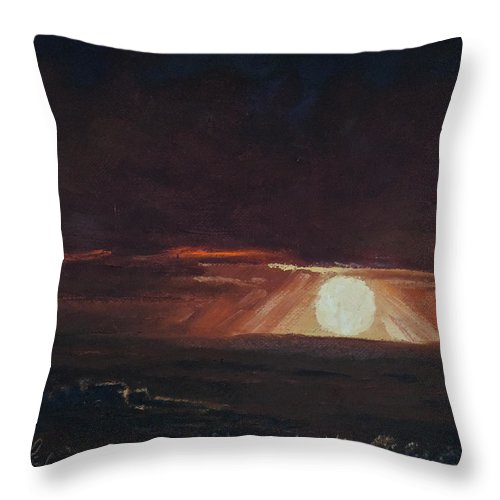 Super Moon Throw Pillow featuring the painting Lunar Light by Mia DeLode