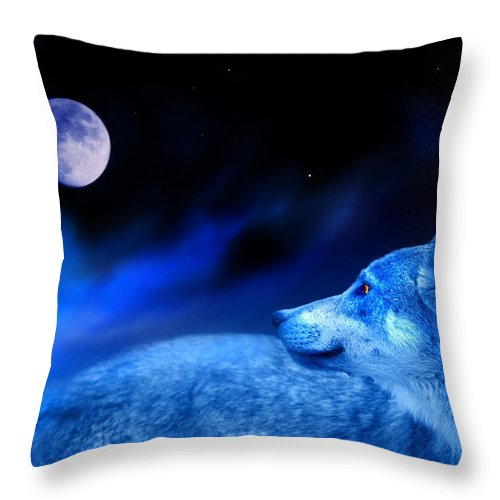 Wolf Throw Pillow featuring the photograph Lunar Wolf 2 by Mal Bray