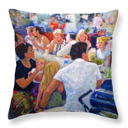 Family Throw Pillow featuring the painting Lunch At The O.b.m. by Michael Durst