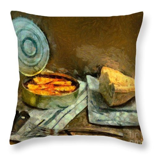 Still Life Throw Pillow featuring the painting Lunch In Times Of Crisis by Dragica Micki Fortuna