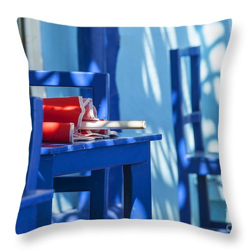 Parasol Throw Pillow featuring the photograph Lunch Is Over by Patricia Hofmeester