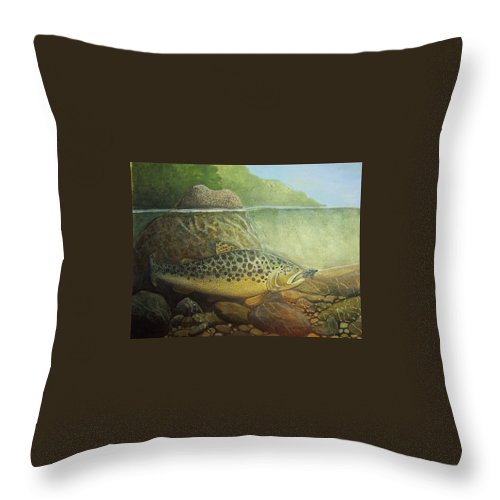 Rick Huotari Throw Pillow featuring the painting Lurking by Rick Huotari