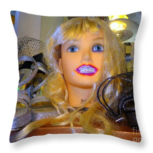 Mannequins Throw Pillow featuring the photograph Luscious Lips by Ed Weidman