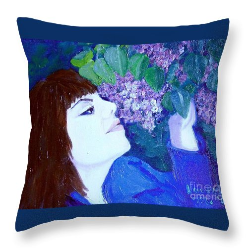 Lilacs Throw Pillow featuring the painting Lush Lilacs by Laurie Morgan