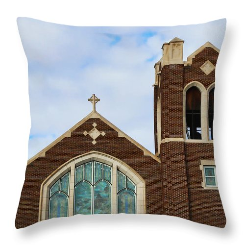 Lutheran Church Throw Pillow featuring the photograph Lutheran Church by Sylvia Thornton