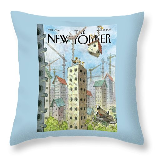 Co-op Throw Pillow featuring the painting Luxury Coops by Peter de Seve