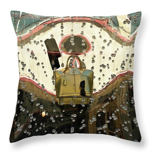 Louis Vuitton Throw Pillow featuring the photograph Lv Gold Bag 02 by Rick Piper Photography