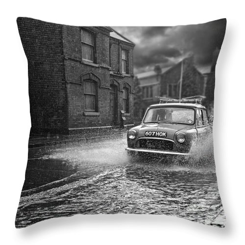 Hart Photography Throw Pillow featuring the photograph Lye Rain Storm, Morris Mini Car - 1960's  Ref-246 by William R Hart
