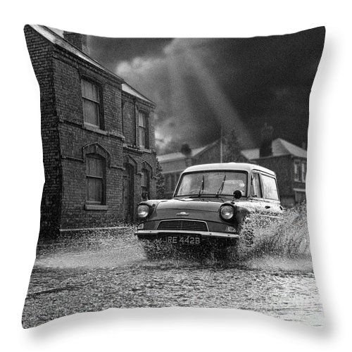 Hart Photography Throw Pillow featuring the photograph Lye Storm, Ford Anglia Van - 1960's  Ref-245 by William R Hart