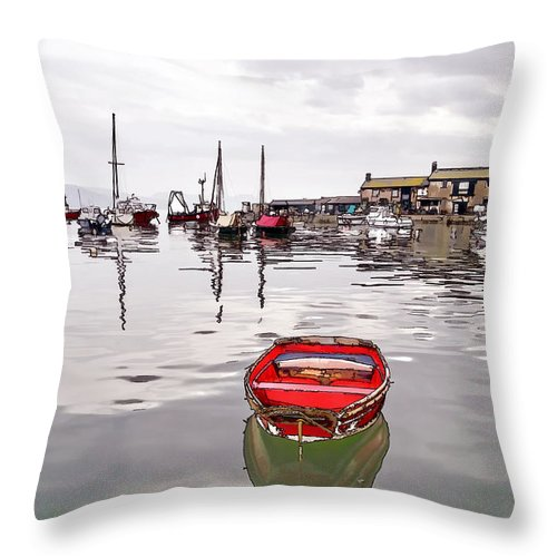 Lyme-regis Throw Pillow featuring the photograph Lyme Regis Harbour Abstract by Susie Peek