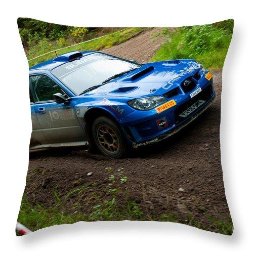 Rally Throw Pillow featuring the photograph M. Cairns Driving Subaru Impreza by Luis Alvarenga
