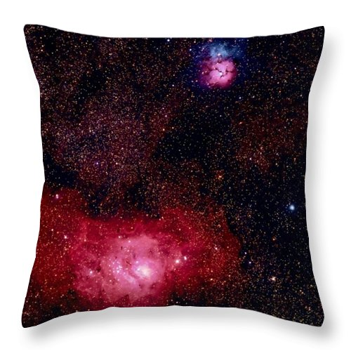 New Mexico Throw Pillow featuring the photograph M8 The Lagoon Nebula And M20 The Trifid by A. V. Ley