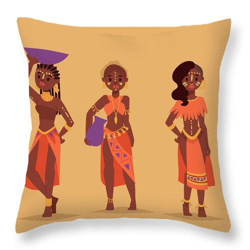 Kenya Throw Pillow featuring the digital art Maasai African People In Traditional by Vectormoon