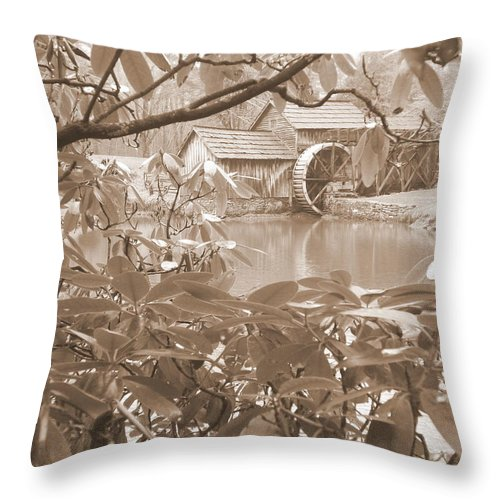 Mabry Mill Throw Pillow featuring the photograph Mabry Mill In Sepia by Diannah Lynch