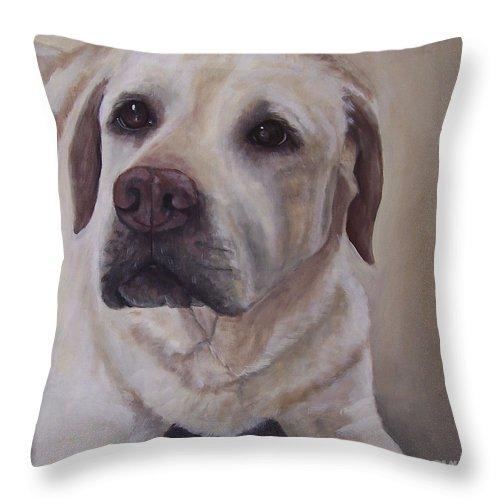 Labrador Retrievers Throw Pillow featuring the painting Mac by Elizabeth Ellis