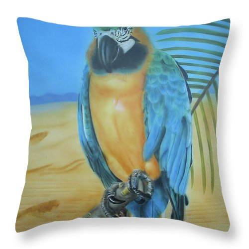 Cockatoo Throw Pillow featuring the painting Macaw On A Limb by Thomas J Herring