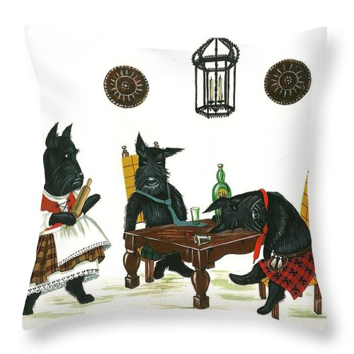 Print Throw Pillow featuring the painting Macdrunk by Margaryta Yermolayeva