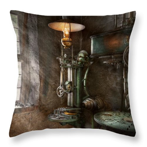 Machinist Throw Pillow featuring the photograph Machinist - Where Inventions Are Born by Mike Savad