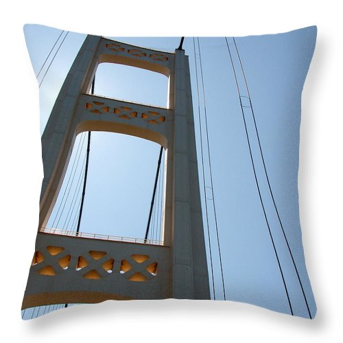 Bridge Throw Pillow featuring the photograph Mackinac Bridge by Michelle Calkins